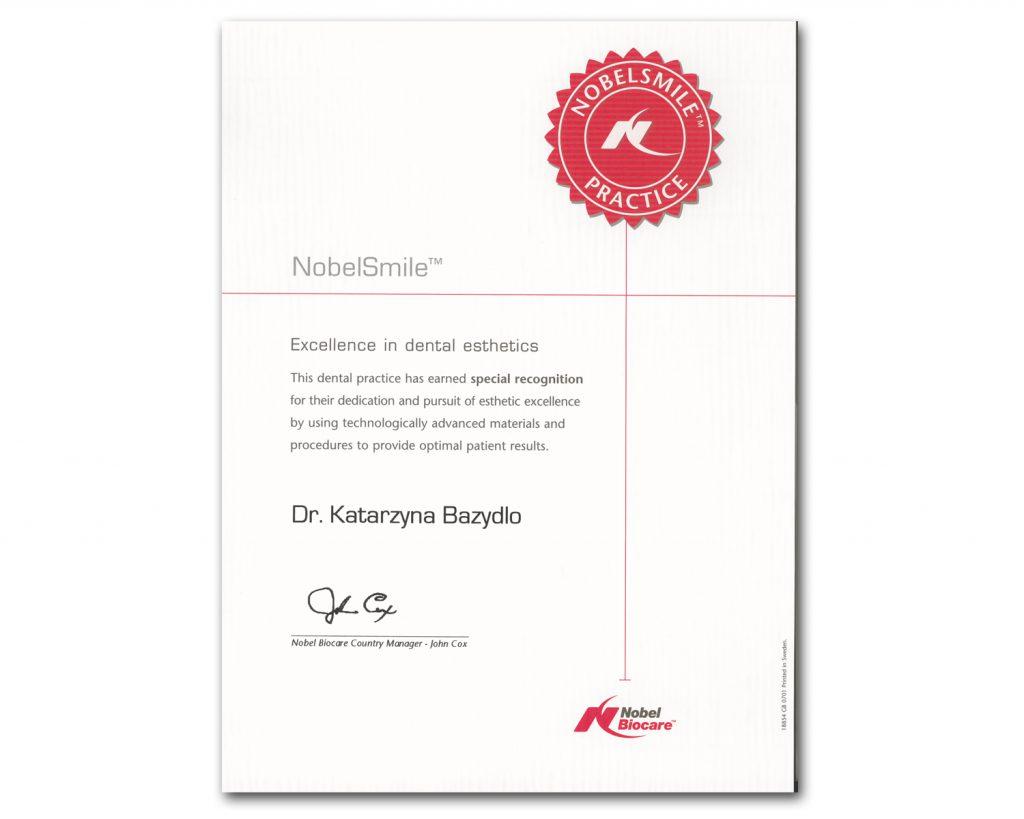 Nobel Biocare Certificate