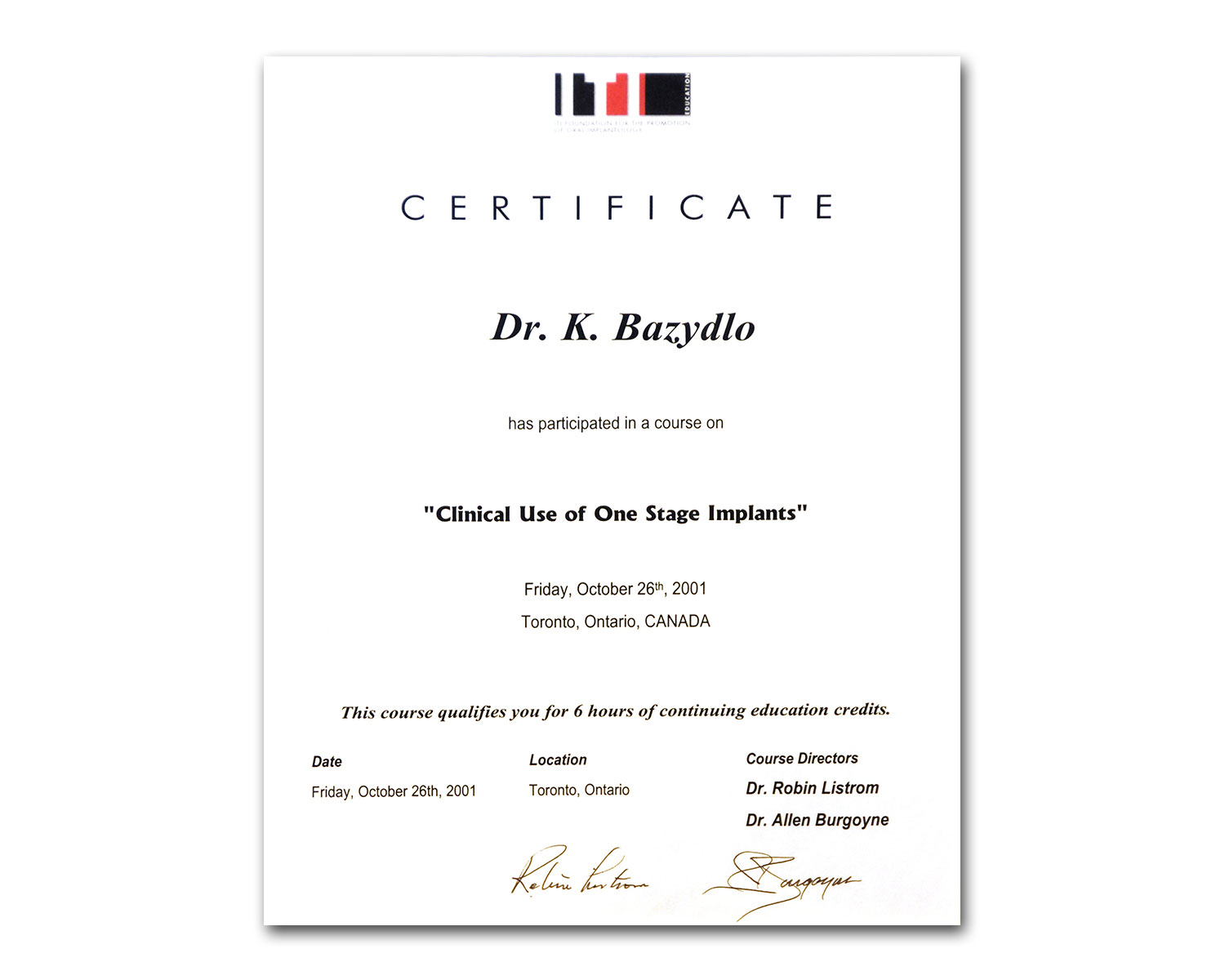 Foundation for Implantology Certificate