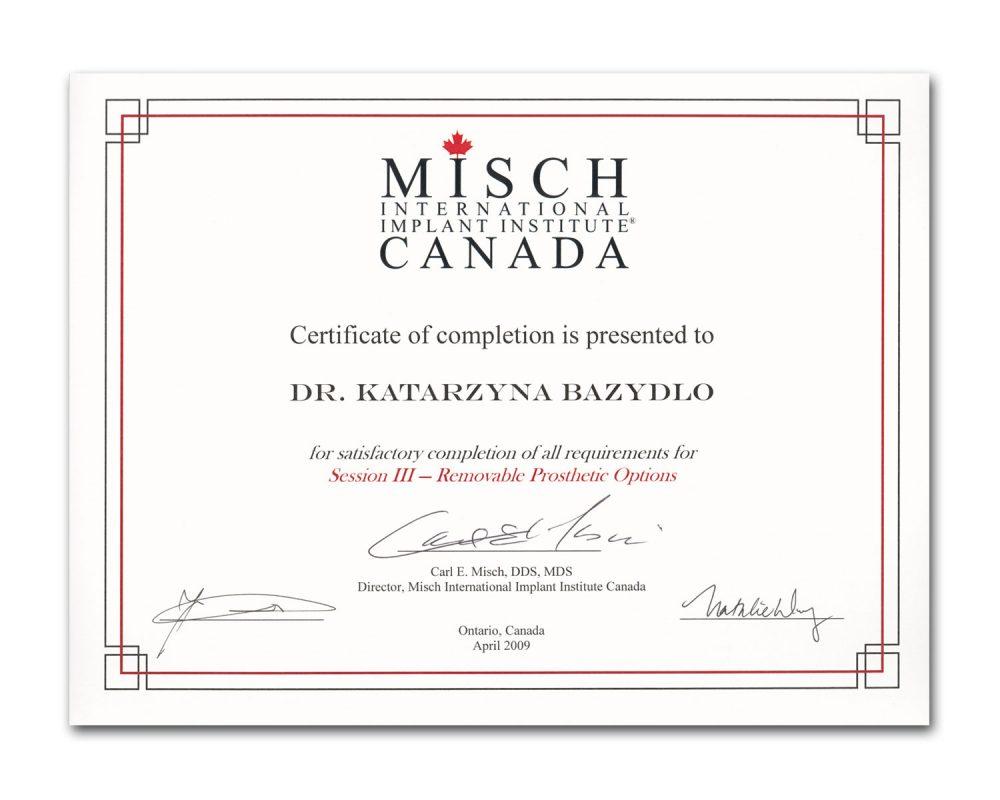 Misch Certificate